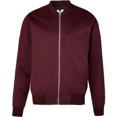 TOPMAN Burgundy Cotton Bomber Jacket ($61) ❤ liked on Polyvore featuring mens, men's clothing, men's outerwear and men's jackets