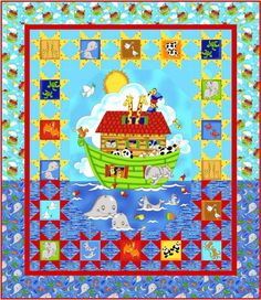 Noah's Ark After the Rain Handmade Baby Crib Quilt by TBQSC