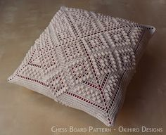 Items similar to Chess Board Patten Crochet Square Pillow - MADE TO ORDER - Double Sided design, custom colors on Etsy Motifs Granny Square, Granny Square Crochet Pattern, Crochet Stitches Patterns, Crochet Squares, Crochet Motif, Crochet Pillow Cases, Crochet Cushions, Filet Crochet, Thread Crochet