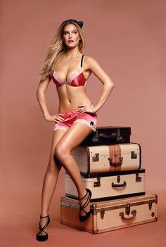 Bar Refaeli packing for our vacation. She has a lot of lingerie.
