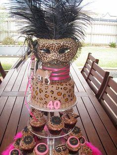 Mossys Masterpiece - Katies Cougar/masquerade 40th Birthday cake  cupcakes