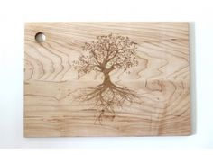 Large Engraved Tree Wood Cutting Board