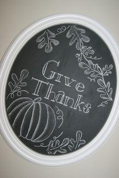 Give Thanks Fall Chalkboard Art