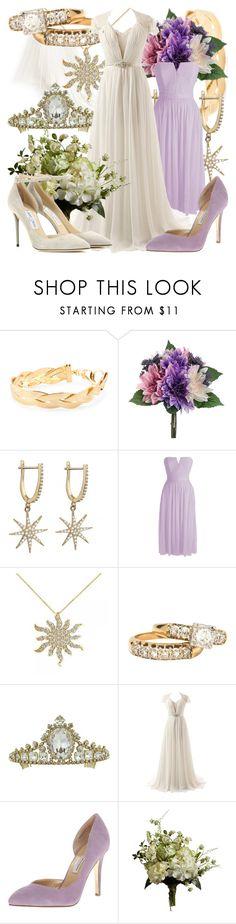 """Rapunzel - Wedding"" by fabulousgurl ❤ liked on Polyvore featuring Talia Naomi, Allurez, Chinese Laundry, Abigail Ahern, Jimmy Choo, wedding, disneybound and tangled"