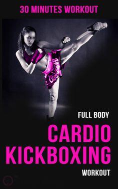 Full body cardio kickboxing workout for women.