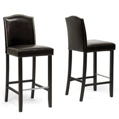 Amazon.com - Baxton Studio Libra Modern Bar Stool with Nail Head Trim, Dark Brown, Set of 2 - Barstools