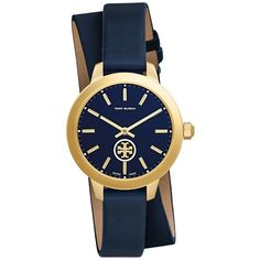 Tory Burch Collins Double-Wrap Watch, Navy Leather Gold-Tone, 32 Mm (€265)  ❤ liked on Polyvore featuring jewelry, watches, leather wrist watch, tory  burch ... 159ce8ce5d96
