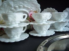 Six Westmoreland Paneled Grape Teacups and Saucers - Westmoreland Paneled Grape - Westmoreland Milk Glass - Milk Glass Teacups and Saucers Glass Tea Cups, Milk Glass, Westmoreland Glass, Imperial Glass, White Dishes, Fenton Glass, Dish Sets, Opaline, Carnival Glass