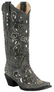 Corral® Ladies Distressed Black Crater w/White Inlay & Studs Snip Toe Western Boots | Cavender's Boot City.....love!