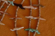 David Tsikewa Triple Strand bird Fetish Necklace
