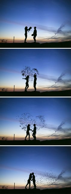 Cool silhouette engagement photo idea of a couple throwing fall leaves into a heart shape during sunset! Fun Red Wing, MN engagement picture by Brovado