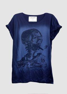 Van Gogh Skull (Black/Smoky) Fine Jersey Unisex T-Shirt