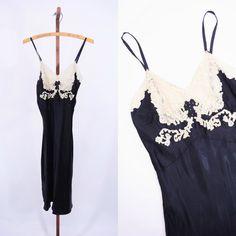 1930s slip vintage 30s black lace inset lingerie slip XS tiny bust