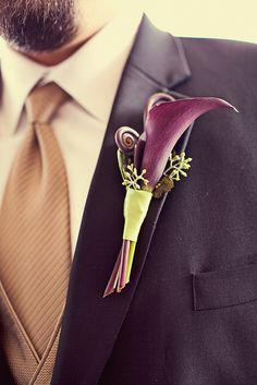 Purple, Simple and Modern Calla Boutonniere by Blue Bouquet, via Flickr
