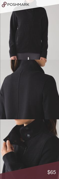 Lululemon Black Fleece Be True Size 4 Lululemon Fleece Be True Jacket Black Size 4  Beautiful jacket in excellent used condition. Only worn once! Hang tag intact. No pilling, tears, or holes. Happy poshing!   This naturally breathable, relaxed-fit jacket was designed to be your post-practice favourite—just throw on and go.   Cotton Fleece Naturally breathable Cotton Fleece fabric feels thick, soft and comfortable long after you've cooled down * soft and comfortable * naturally breathable…