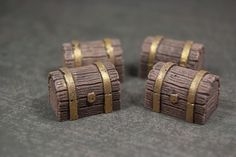 4 Treasure Chests  Tabletop Gaming Miniatures for by CicadaCrafts, $4.00
