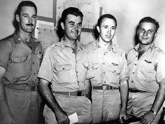 1st atomic bomb: Crew of 'Enola Gay' over Hiroshima, Japan: Maj. Thomas W. Ferebee, bombardier; Col. Paul W. Tibbets, Jr. pilot; Capt. Theodore J. Van Kirk, navigator; Capt. Robert Lewis, officer crew; 5 Aug 1945.