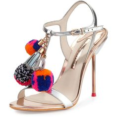 Sophia Webster Layla Pom-Pom Metallic Leather Sandal ($695) ❤ liked on Polyvore featuring shoes, sandals, heels, strappy high heel sandals, ankle strap high heel sandals, leather strappy sandals, ankle strap shoes and heeled sandals