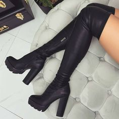 😍 Thigh High Chunky Boots