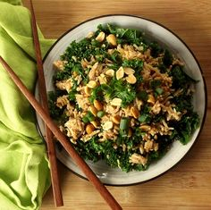 Crispy fried rice, flavored with rich peanut butter, ginger and lime juice, and mixed with tender, hearty kale.