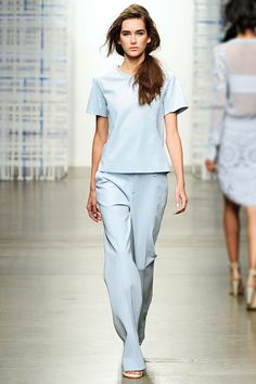 Pale Blue Zip Back Top and Cotton Stretch Trouser