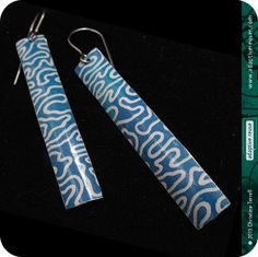 Vintage Blue Tea Tin--Long & Lean Drop Earrings made with upcycled vintage litho tin by adaptive reuse.
