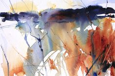 Autumn Landscape, Cheshire. Semi abstract watercolour by Adrian Homersham.