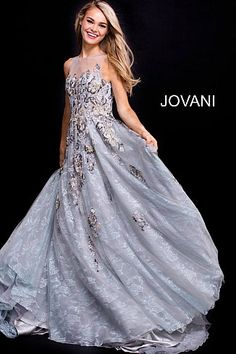 Grey Floral Embroidered Sheer Neck Prom Ballgown 55818 #LaceDress #Jovani #EveningDress