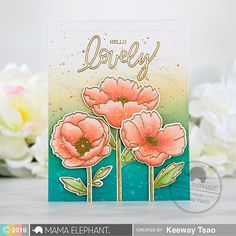 My favorite flowers, poppies! Today's we're highlighting the new Mama Elephant stamp set called Poppy Flowers. The second I saw this set, I couldn't wait to start coloring them up… Botanical Flowers, Poppy Flowers, Mama Elephant Stamps, Flower Frame Png, Purple Peonies, Colorful Roses, Flower Stamp, Beautiful Handmade Cards, Frame Wreath