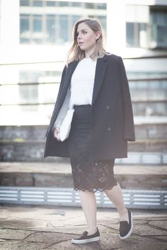 OUTFIT | KNITS AND LACE | llittleblonde streetstyle, lace skirt, white knit, sneakers photo by pim van baalen.