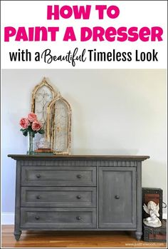 See how to paint a dresser for a classic and timeless look. This gray painted dresser tutorial is created with texture, paint and stain. DIY painted dresser makeover using wood stain, chalk paint and Saltwash texture additive. Gray Painted Furniture, Chalk Paint Furniture, Diy Furniture Projects, Diy Projects, Refinished Furniture, Furniture Refinishing, Wood Furniture, Furniture Design, Diy Dresser Makeover