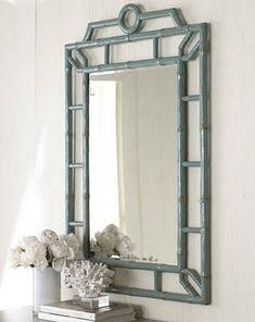 Suzie: Mirrors - The Horchow Collection-Decor & Antiques - New Arrivals - aqua, faux bamboo, mirror Asian Mirrors, I Love Mirrors, Wall Mirrors, Vanity Mirrors, Floor Mirror, Painted Bamboo, Faux Bamboo, Bamboo Mirror, Diy Mirror