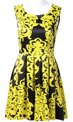 Yellow Black Sleeveless Floral Pleated Silk Dress