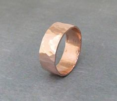 Copper Hammered Ring Wide Band.