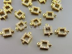 2 tiny square brass connectors with Cubic Zirconia studs and gold plating C962-BG