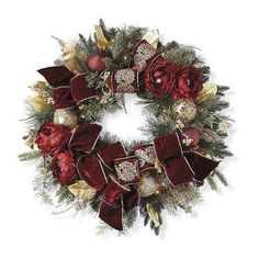 Parisian Christmas Pre-Decorated Wreath ($399) ❤ liked on Polyvore featuring home, home decor, holiday decorations, christmas, artificial holiday wreaths, christmas ornaments, outdoor urns and outdoor wreaths