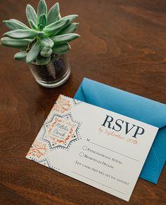 Spanish Tile Wedding Invitation Suite   Custom Stationery Design   Orange and Blue   Pattern