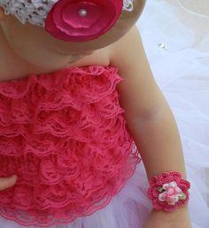 Infant Crochet Cuff Bracelet/ Pink Flower by breathofanangel, $25.00