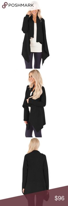Open Drape Front Waterfall Lapel Knit Cardigan Cozy, thick knit, chic open front with draped waterfall style lapels. This long sleeve cardigan sweater is a must have, wardrobe staple. Perfect with leggings or skinnies. Great for chilly offices, comfortable enough to wear all day.  Available in cream beige, black, grey, burgundy, and mustard brown.  Sizes XS, S, M, L, XL/1X  ❌ Sorry, no trades.  loose fit cable waffle knit slouchy oversized long open fuzzy cardigan sweater   fairlygirly…