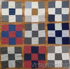 """14 ANTIQUE c1880 Nine Patch QUILT Blocks 10 1/2"""" Great Fabrics!"""