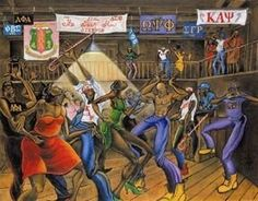 "Divine Nine art (""Greek Show"" by Tracy Andrews) Kappa Alpha Psi Fraternity, Omega Psi Phi, Sigma Gamma Rho, Alpha Kappa Alpha Sorority, Aka Sorority, Sorority Life, Black Fraternities, Divine Nine, Greek Art"