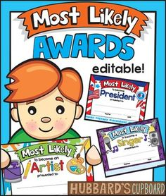End of Year Awards that include: - Certificates with hashtags - Editable and Fillable Blanks for Awards