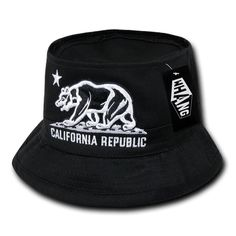 meet aa10a 6f298 Black California Republic Cali Bear Cotton Fisherman Fishing Bucket Hat L XL