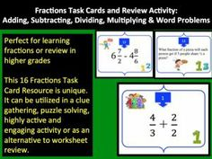 This 16 Fractions Task Card resource covers addition, subtraction, multiplication, division, word problems and is very unique.  It can be utilized in a clue gathering, puzzle solving, highly active and engaging activity for those learning fractions or as an alternative to worksheet review for older students.  Do you use Math Workshops in your class?  These would be perfect!  This activity covers the Common Core Math Standard - 5.NF.