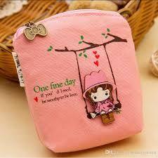 And Children Women Cute Cartoon Swing Girl Canvas Mini Wallet Women Key Purses Kawii Kids Coins Purse Keys Holder Clutch Mini Money Bag 4 Colors Suitable For Men