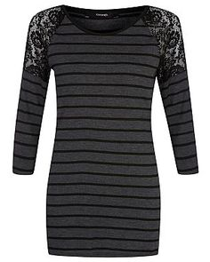 Stripe Jersey Top with Lace Shoulders