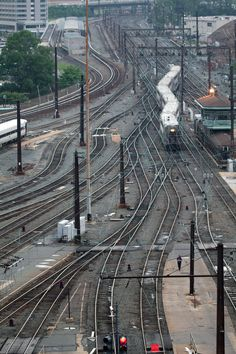 Rail Yard. I used to live right beside the rr tracks but it didn't look like this. How cool. I love it.