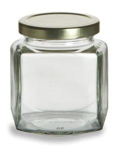 Oval Hexagon Glass Jar 9 oz (270ml) w/ Gold Lid