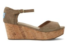 Just a little lift. #TOMS Taupe Suede Platform Wedges