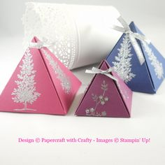 My Pyramid Gift Boxes  http://papercraftwithcrafty.blogspot.com/2015/07/pyramid-gift-boxes.html